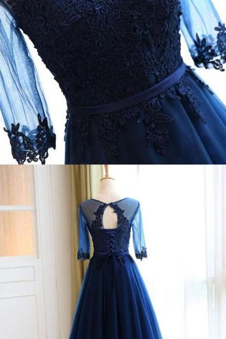 Cheap Sleeves Navy Evening Prom Dresses Popular Long A-line/Princess Applique Lace Up Dresses M1349