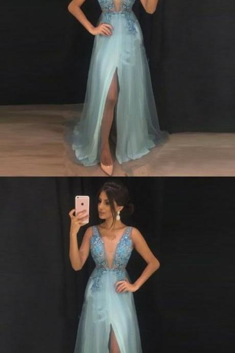 A-Line V-Neck Split Front Light Blue Tulle Prom Dress with Beading Appliques M1353