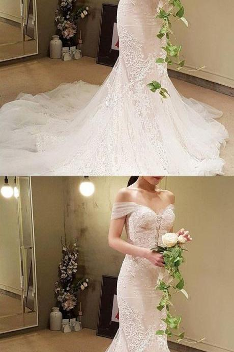 Elegant Mermaid Wedding Dress - Off the Shoulder Court Train Lace M1357