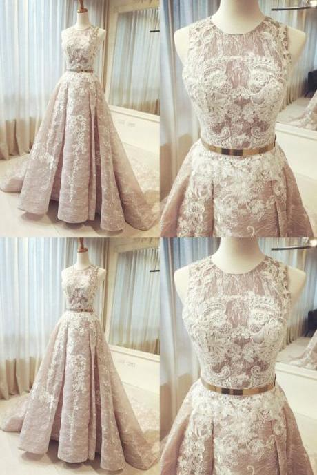 Champagne Wedding Dresses, Long Prom Dresses, beautiful round neck lace long sleeveless prom dress,pretty wedding dress M1383
