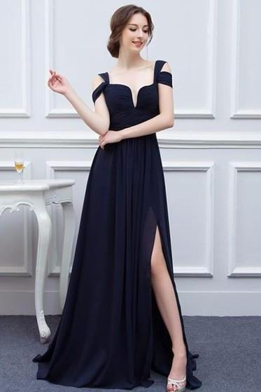 A-line V-neck Chiffon Sweep Train with Split Front Bridesmaid Dresses M1397