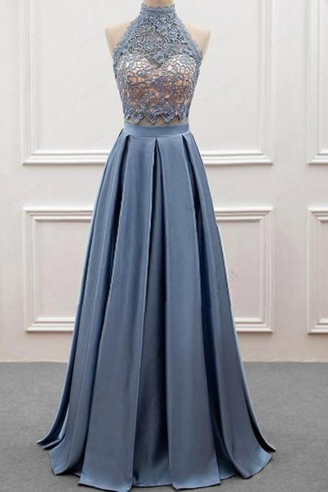 Two Piece Prom Dress Simple Modest Elegant Cheap Long Prom Dress, M1432