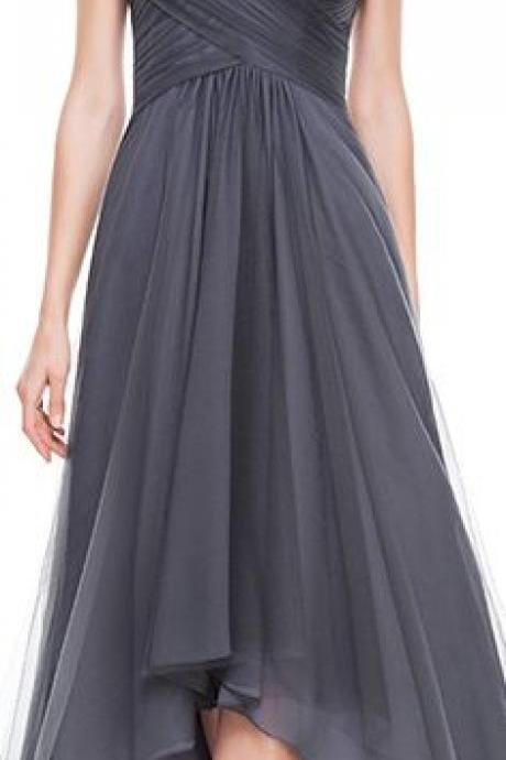 A-Line/Princess V-neck Asymmetrical Tulle Evening Dress With Ruffle Beading Sequins M1471