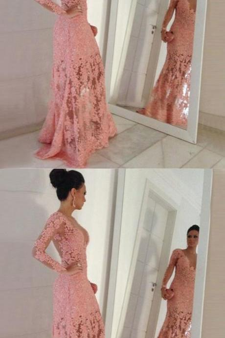 Mermaid Round Neck Long Sleeves Sweep Train Pink Prom Dress with Appliques M1500