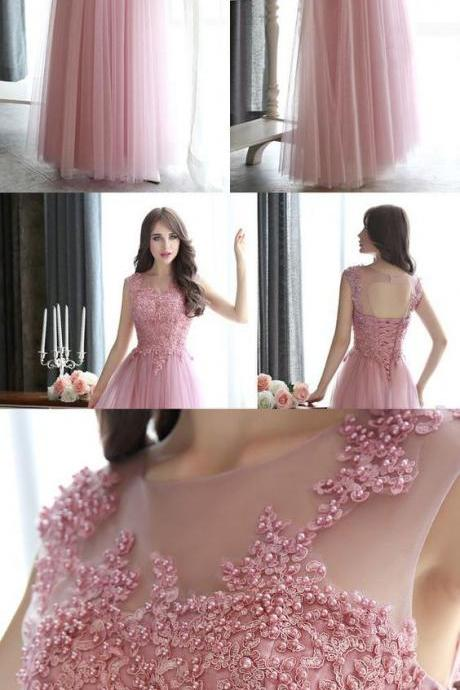 Open Back Pearl Beaded Prom Dresses, All Over Beaded Pink Prom Dress, Modest Illusion Long Prom Dresses with Lace Appliques M1504