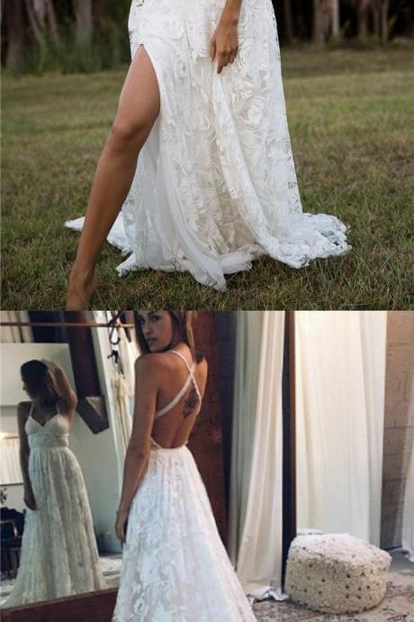2018 Charming Lace Long A-line Fashion Spaghetti Straps Wedding Dress, New Unique Design Bridals Dresses , M1571