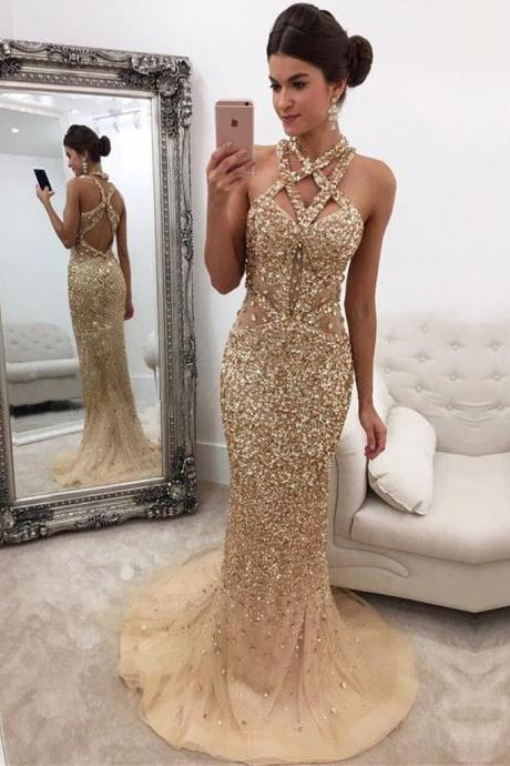Champagne Mermaid Zipper-Back Crystals Gorgeous Halter Sleeveless Long Prom Dress M1605