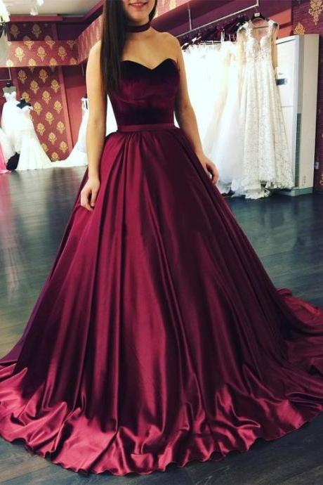 Gown Evening Dresses, Burgundy Ball Gown Evening Dresses, Gown Long Evening Dresses, Ball Gown Prom Dresses Sweetheart Floor-length Satin Prom Dress/Evening Dress M1702