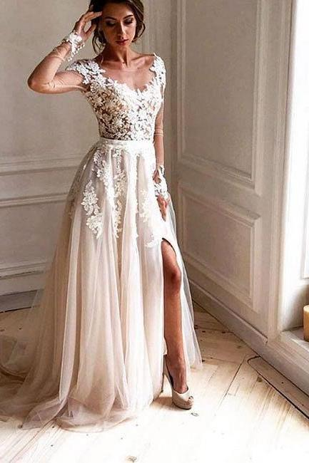 Long Sleeves Prom Dress with Slit M1759