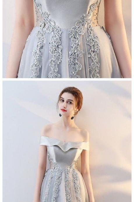 Charming silver gray Prom Dress, Long Prom Dresses, off the shoulder Evening Dress M1786