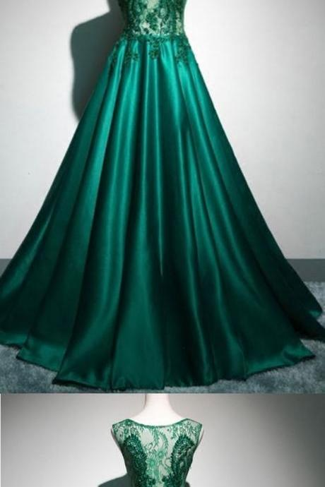 Deep green satin long lace top see through evening dresses, long halter winter formal prom dress M1860
