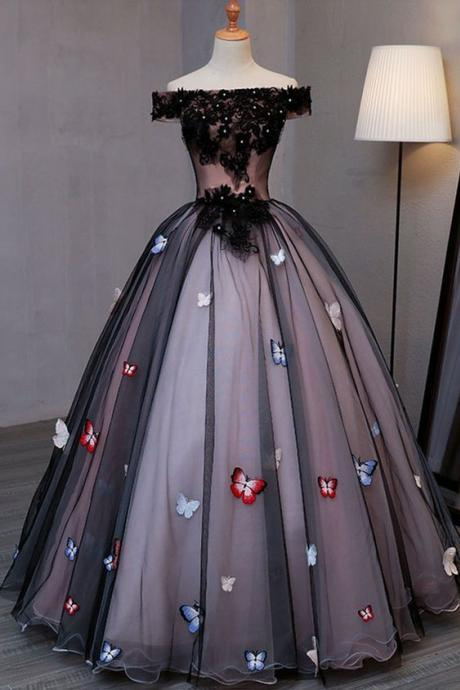 Princess black tulle off shoulder long evening dress with butterfly appliqués, long strapless black prom dress M1891