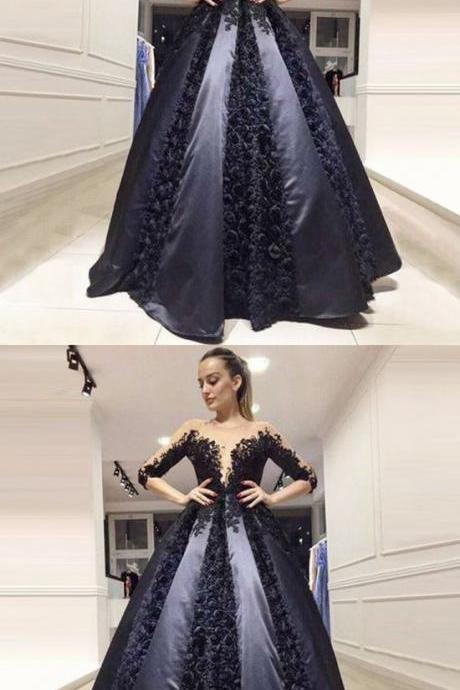 A-Line Round Neck 3/4 Sleeves Black Satin Prom Dress with Lace Appliques M1895