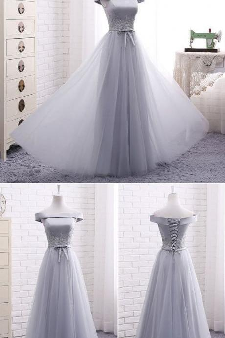 Elegant A line gray off shoulder long prom dress, short evening dresses,Formal Evening Gown, M1948