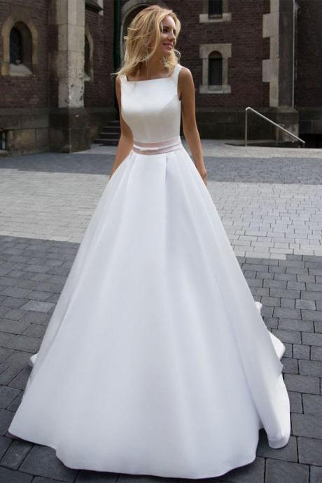 Princess Simple A-line Satin Ivory Wedding Dresses M2076