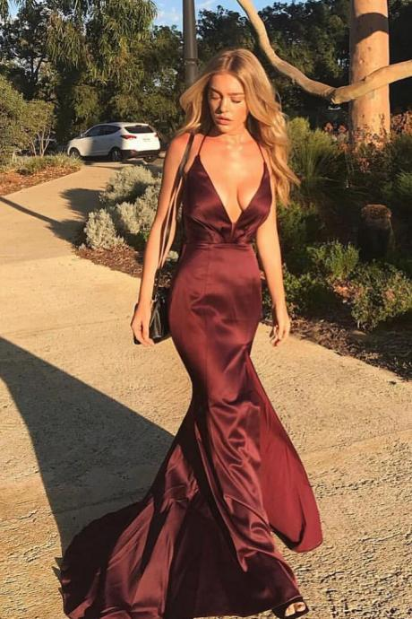 Hot Sexy Deep V-Neck Mermaid Burgundy Long Prom/Evening Dress with Criss Cross M2082