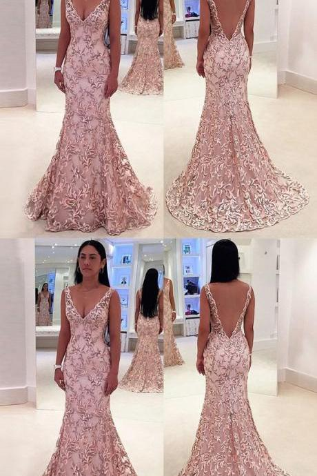 Mermaid Deep V-Neck Sweep Train Pink Lace Backless Sleeveless Prom Dress M2207