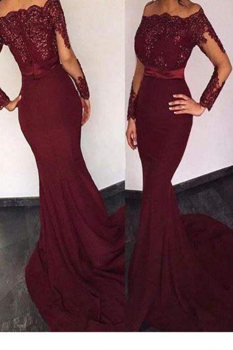 Long Custom Prom Dress,Burgundy Prom dress, Long sleeve prom dress, Prom dress with lace, Mermaid prom dress, Evening Prom Gown, Sexy prom dress, Charming prom dress. M2279