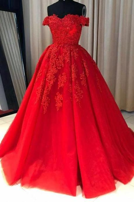 Off Shoulder Red Lace A-line Cheap Evening Prom Dresses M2306