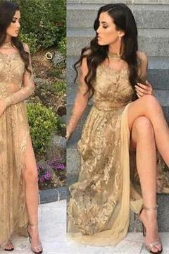2018 GOLD LACE LONG SLEEVELESS PROM DRESSES, FASHION MODERN PROM DRESS, PARTY DRESS M2484