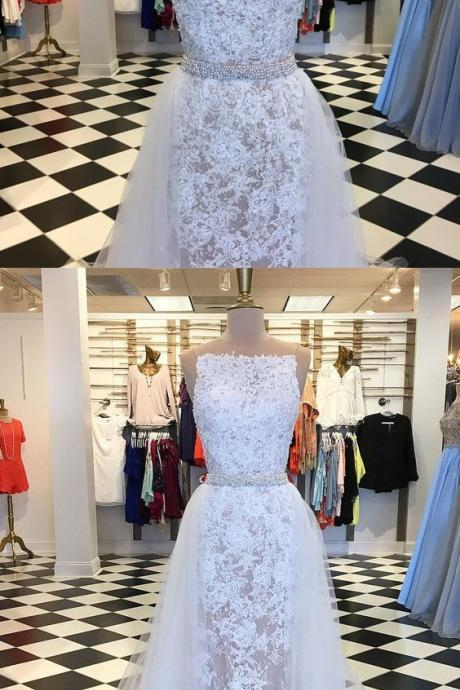A-Line illusion Round Neck Detachable Train White Lace Prom Dress with Beading M2502