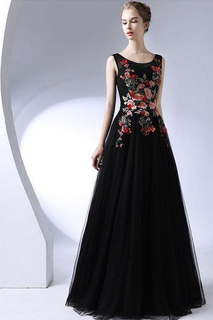 2018 BLACK ROUND NECK LONG PROM DRESS, BLACK EVENING DRESS M2508