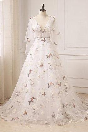 Unique ivory floral print tulle long V neck sweet 16 prom dress with sleeves M2586