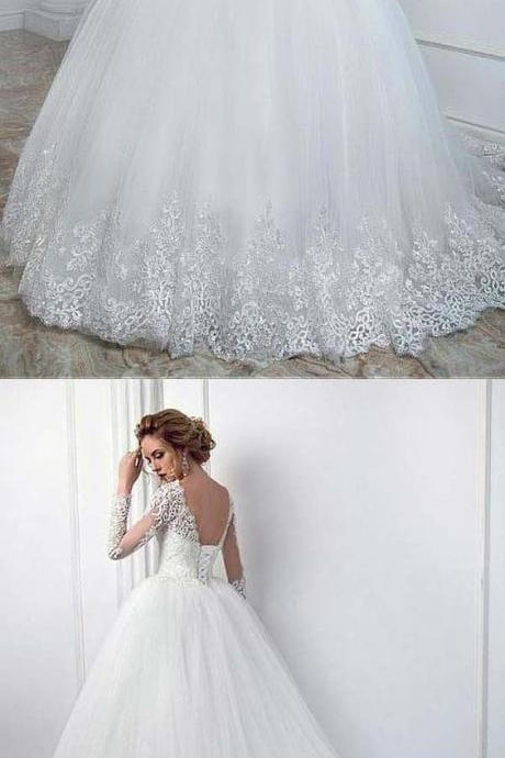 Elegant Bateau Neckline Ball Gown Wedding Dress With Lace Appliques M2711
