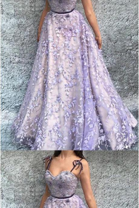 A-Line Spaghetti Straps Floor-Length Lavender Prom Dress with Appliques,Evening Dresses,Party Dresses M2713