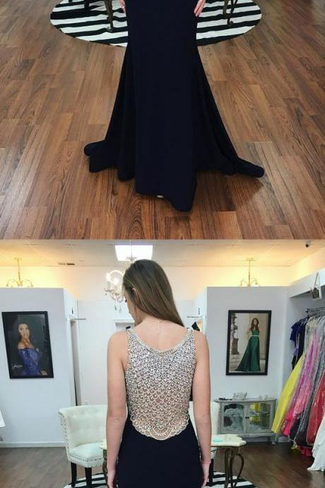 prom dress, black mermaid long prom dress, luxurious beaded back mermaid black long formal evening dress M2717