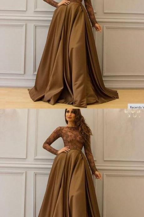 Long Sleeve Brown Prom Dress, Saudi Arabic Prom Dress, Elegant Floor Length Cheap Lace Prom Dress, A-Line Prom Dress, M2755