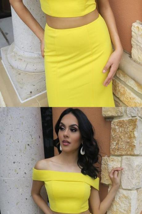 Two Piece Off the Shoulder Yellow Mermaid Long Prom Dress M2778
