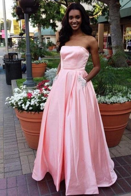 A-line Staright Across Floor-Length Satin Rhine Stone Prom Dresses M2797