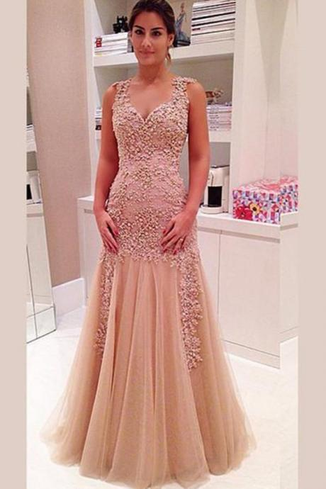 Elegant V-Neck Layers Tulle Prom Dress Sheer Back With Appliques Floral M2806