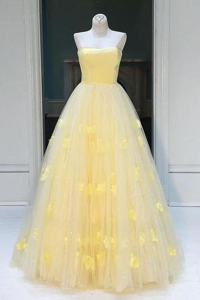 Yellow tulle princess strapless A-line long prom dress, party dress M2843