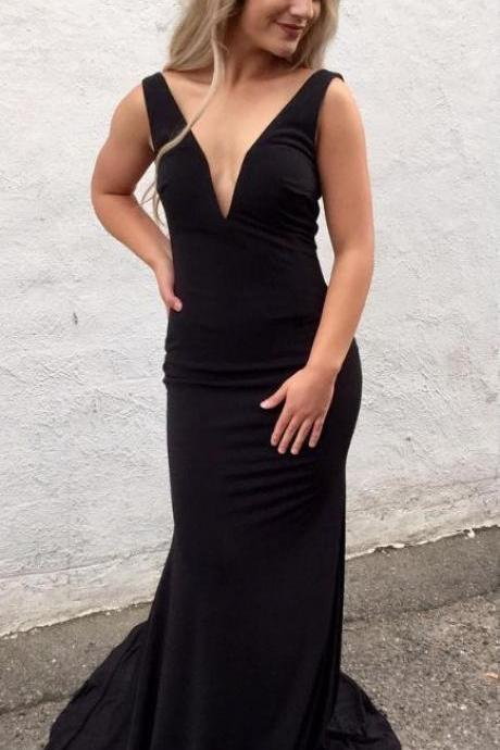 Simply V Neck Black Mermaid Long Prom Dress,Prom Dresses,Evening Dress, Prom Gowns, Formal Women Dress,prom dress M2912