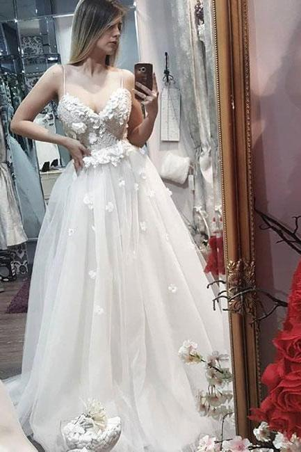 White sweetheart neck lace applique long prom dress, evening dress M2948