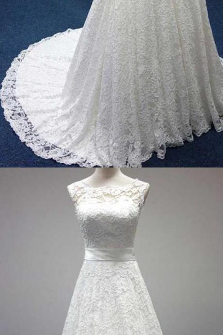 Bateau A-Line Lace Sash Bowknot Sleeveless Wedding Dress M2981