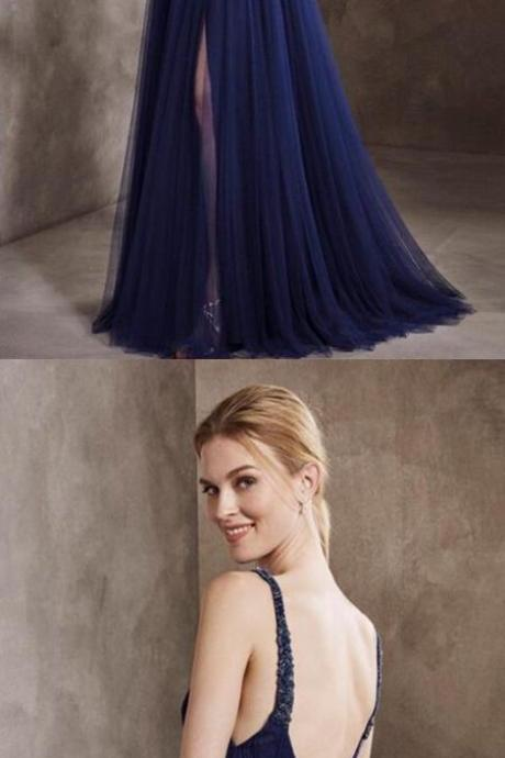Generous A-Line V-Neck Navy Blue Tulle Long Prom/Evening Dress with Beading M2983