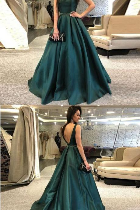 Gorgeous Dark Green Backless Prom Dress,Sweep Train Satin Evening Dress with Beaded Belt M3006