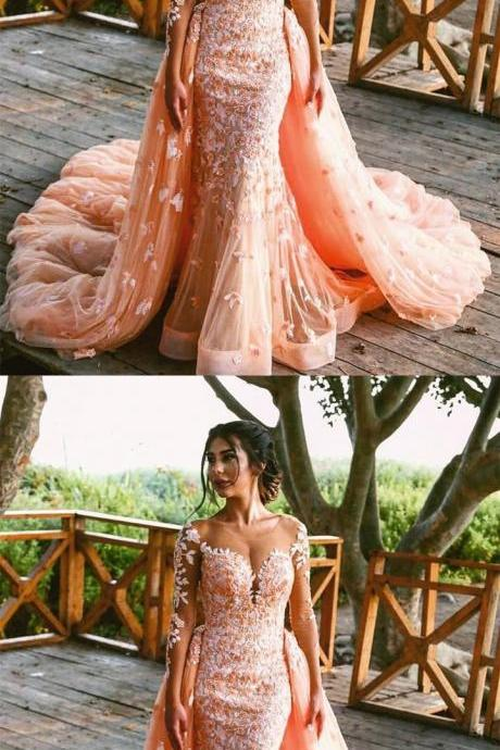Peach Lace Long Sleeves Mermaid Prom Dresses Removable Skirt M3021