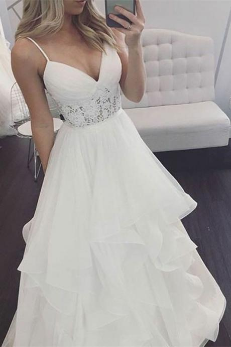A-Line Spaghetti Straps Long Wedding Dress with Lace M3048