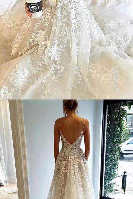 A-Line Spaghetti Straps Chapel Train Backless Ivory Tulle Weeding Dress with Appliques M3089