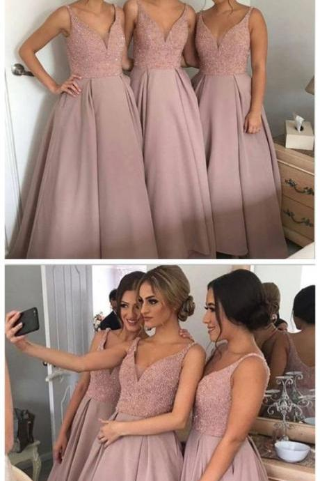 long A-line bridesmaid dress, dusty rose bridesmaid dress,beaded top bridesmaid Dress, v-neck bridesmaid dress, discount Bridesmaid Dress M3115