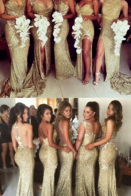 Sheath Jewel Illusion Back Gold Sequined Bridesmaid Dress with Split Appliques M3122
