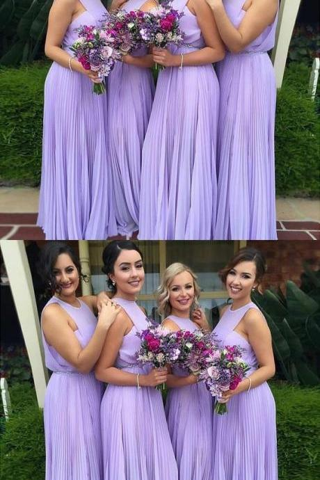 A-Line Round Neck Long Lilac Chiffon Bridesmaid Dress with Pleats M3210
