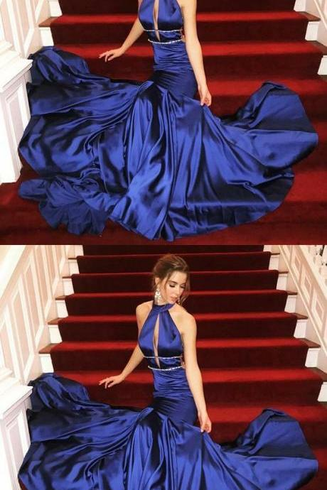 Mermaid High Neck Sweep Train Royal Blue Prom Dress with Keyhole M3245