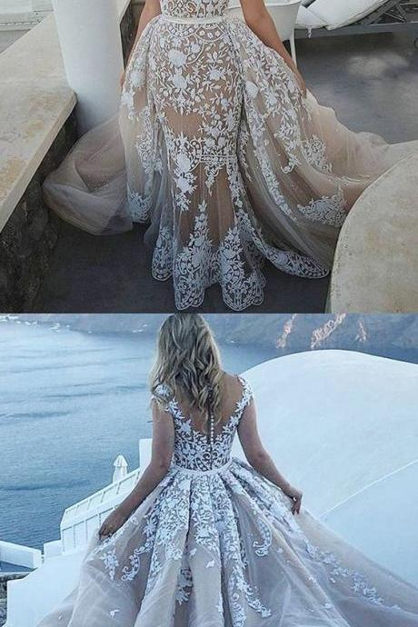 glamorous fit and flare wedding dresses, luxury long train bridal gowns, unique light champagne wedding dresses M3247