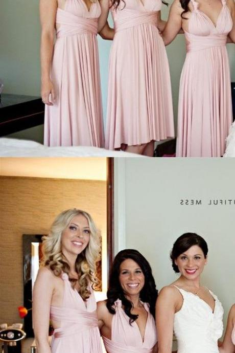 A-Line V-Neck Knee Length Pink Chiffon Bridesmaid Dress With Pleats M3301