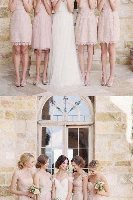 A-Line Sweeetheart Above-Knee Pearl Pink Chiffon Bridesmaid Dress M3305